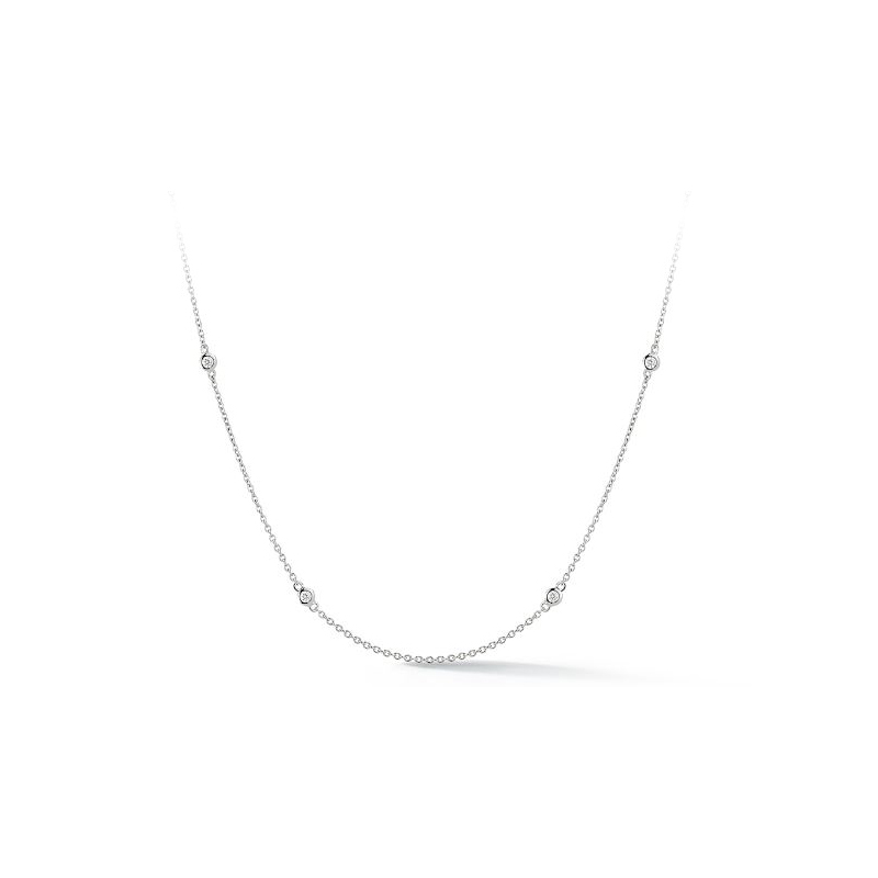 14 Karat White Gold Eight Diamond Station Necklace