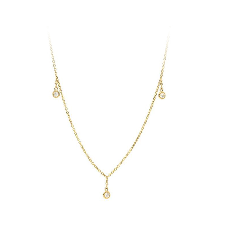 14 Karat Yellow Gold Five Round Diamond Dangle Necklace