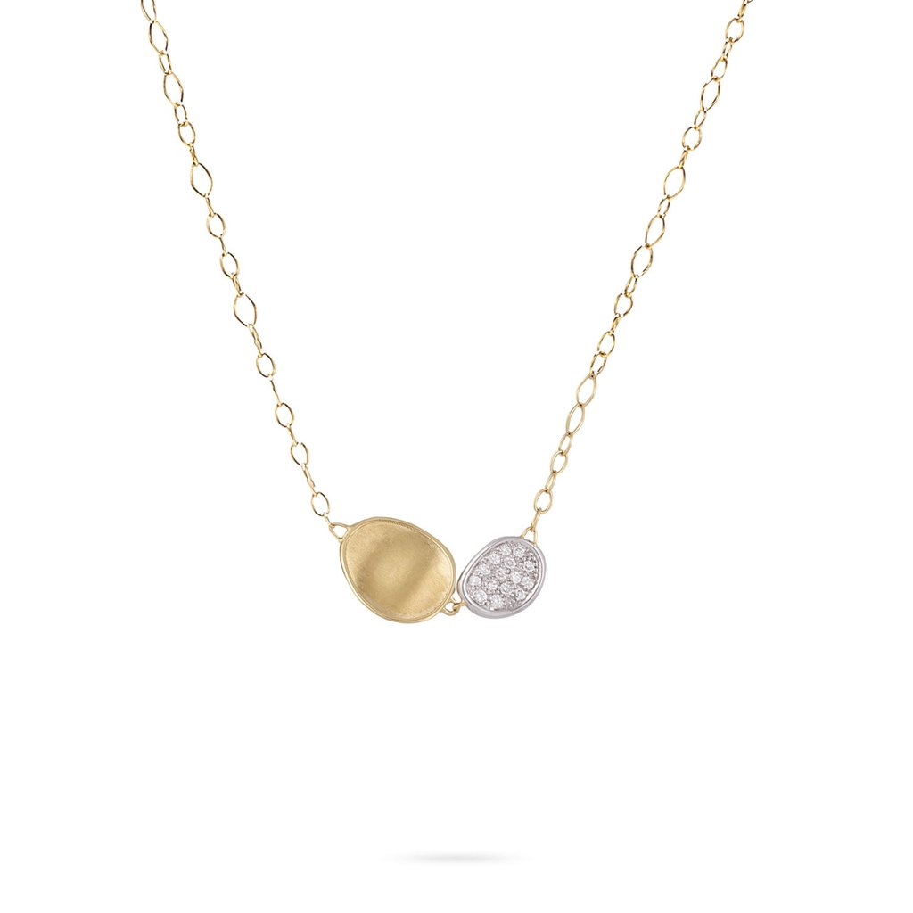 Marco Bicego 18 Karat Yellow Gold Disk Lunaria Diamond Pendant Necklace