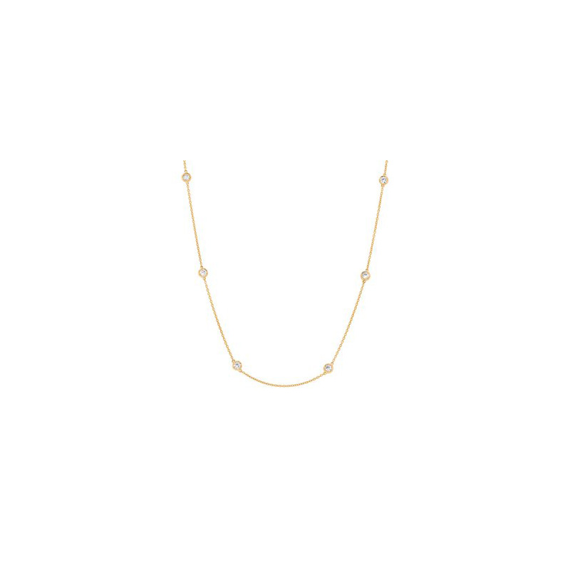 14 Karat yellow gold and diamond station necklace.