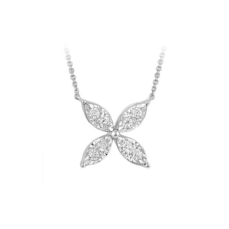 Paramount Gems 14 Karat White Gold Diamond Flower Pendant Necklace