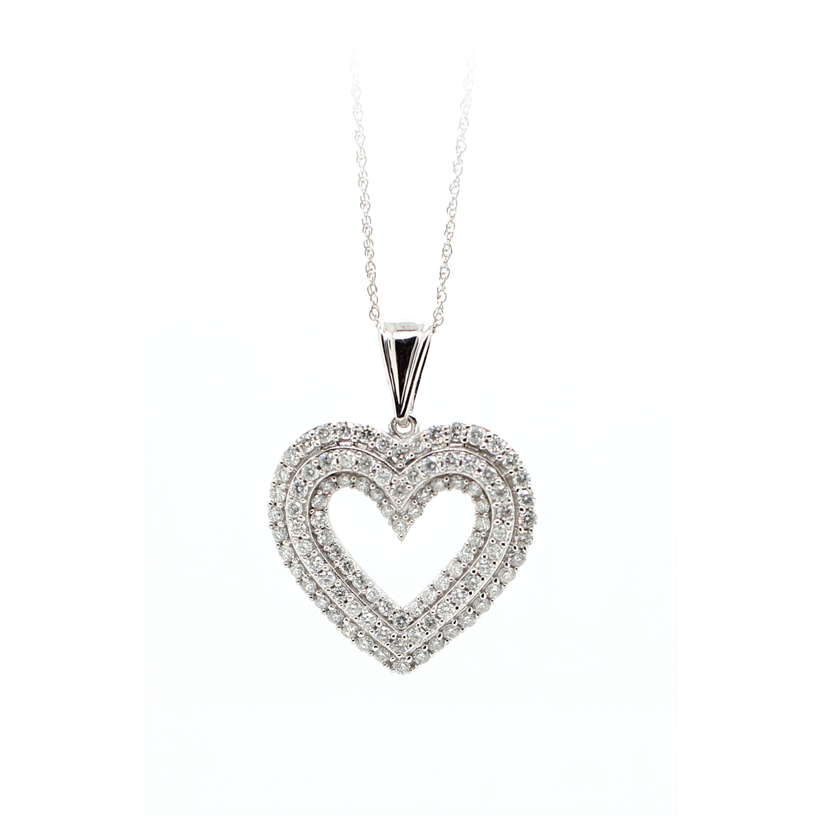 10 Karat White Gold Three Row Diamond Cutout Heart Pendant