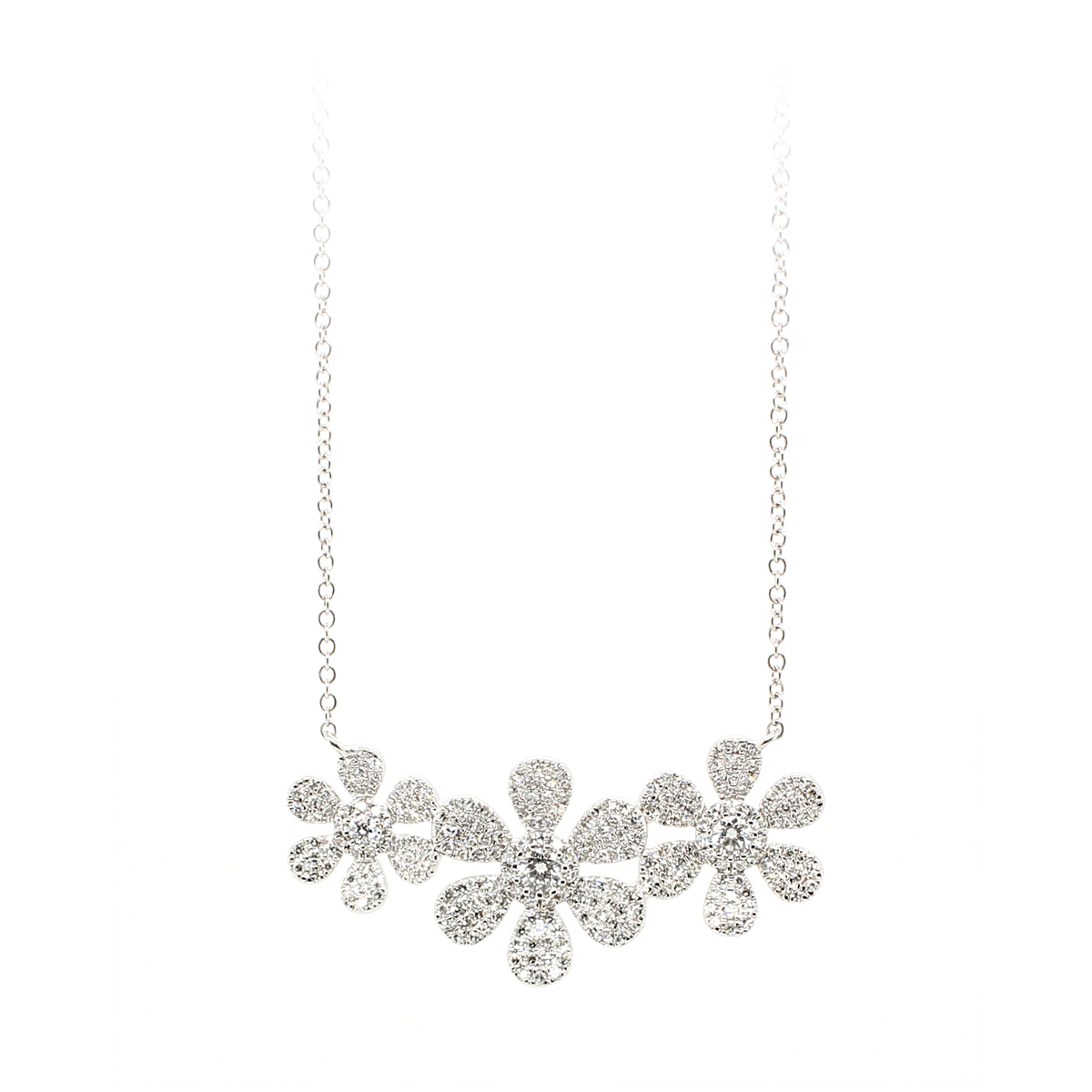 14 Karat White Gold Three Flower Diamond Necklace