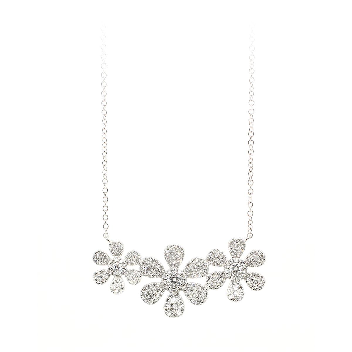 14 Karat White Gold Three Flower Diamond Necklace