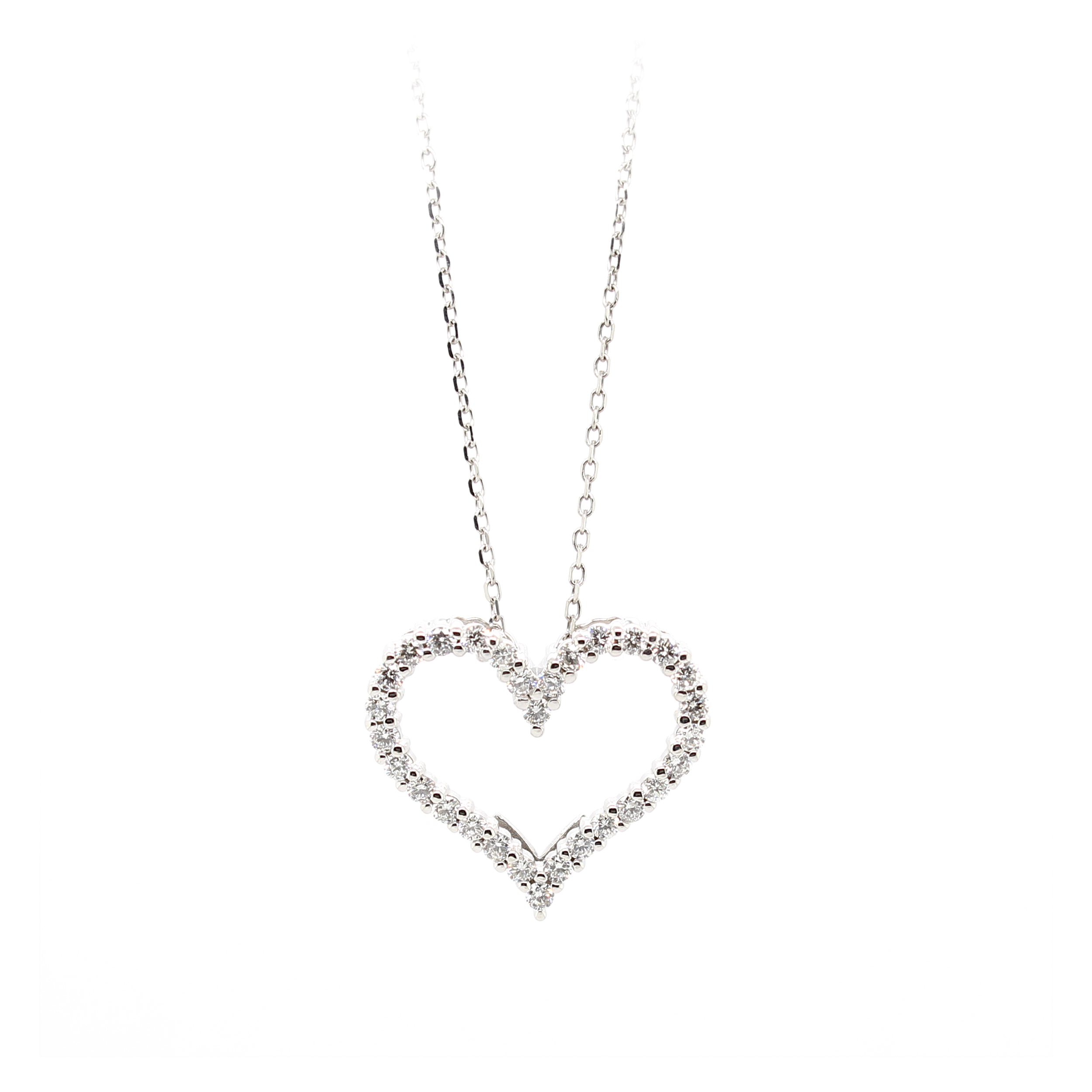 14 Karat White Gold Diamond Heart Pendant Necklace