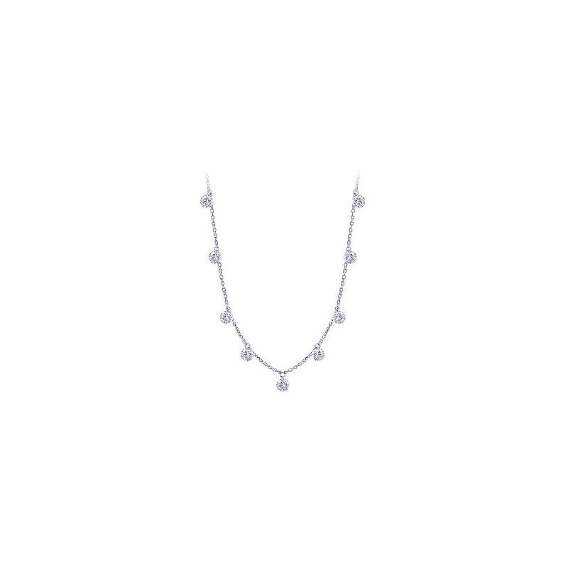 Paramount Gems 14 Karat White Gold Diamond Drop Necklace