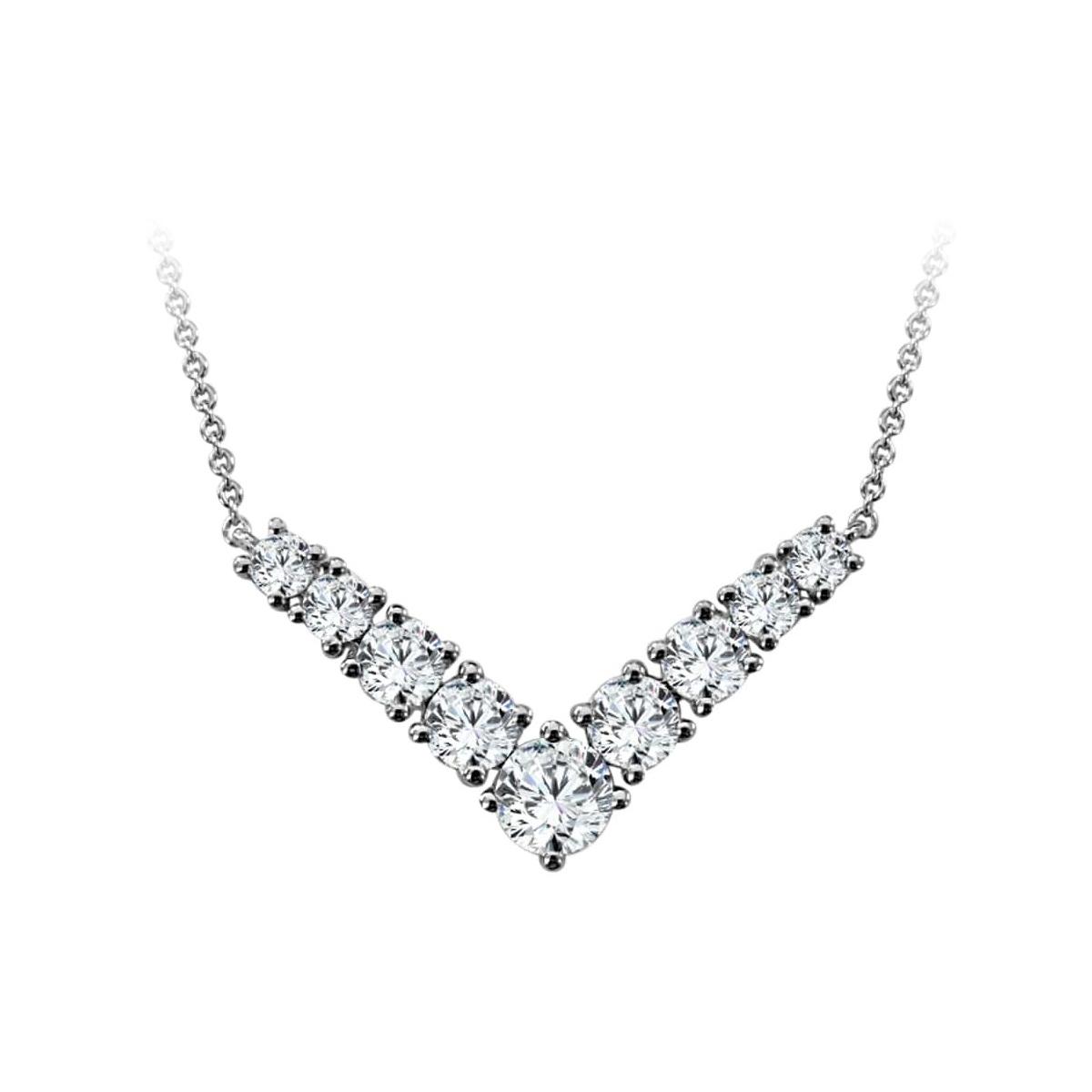 Paramount Gems 14 Karat White Gold Diamond V Necklace