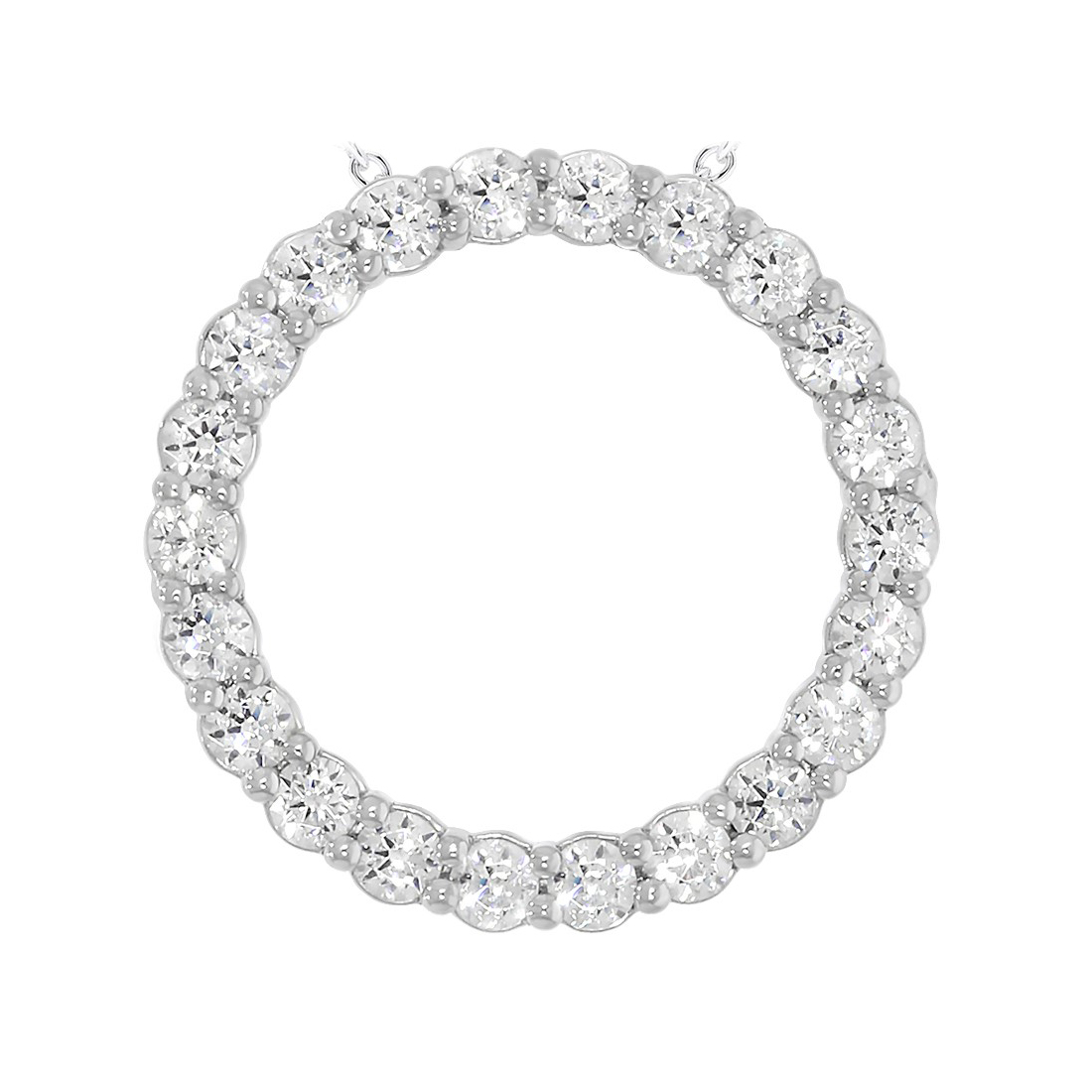 """Paramount Gems 14 Karat White Gold .75 Carat Diamond """"Circle of Life"""" Necklace"""