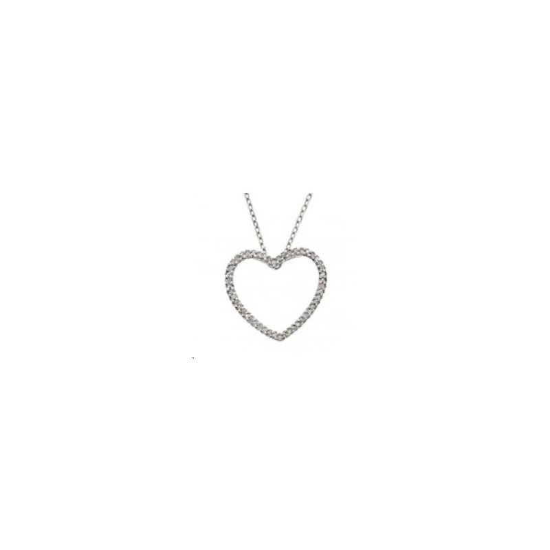 14 Karat white gold and diamond open heart pendant.