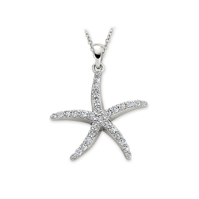 Shefi Diamonds 14 Karat White Gold Diamond Starfish Pendant Necklace
