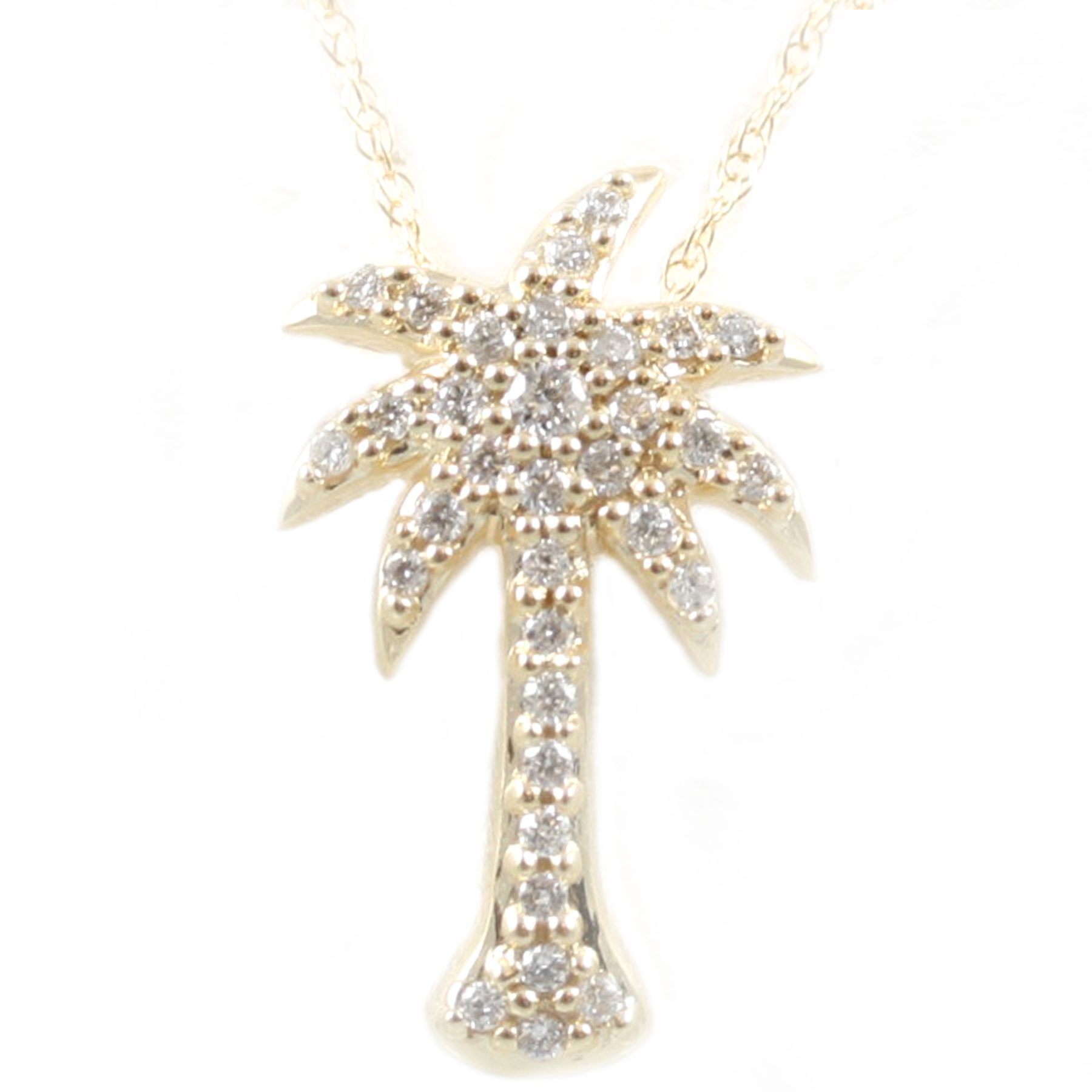 Shefi Diamonds 14 Karat Yellow Gold Diamond Palm Tree Pendant Necklace