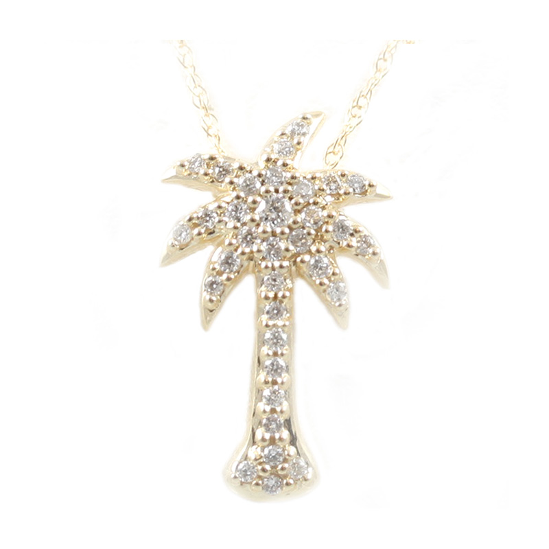 14 Karat yellow gold and diamond palm tree pendant