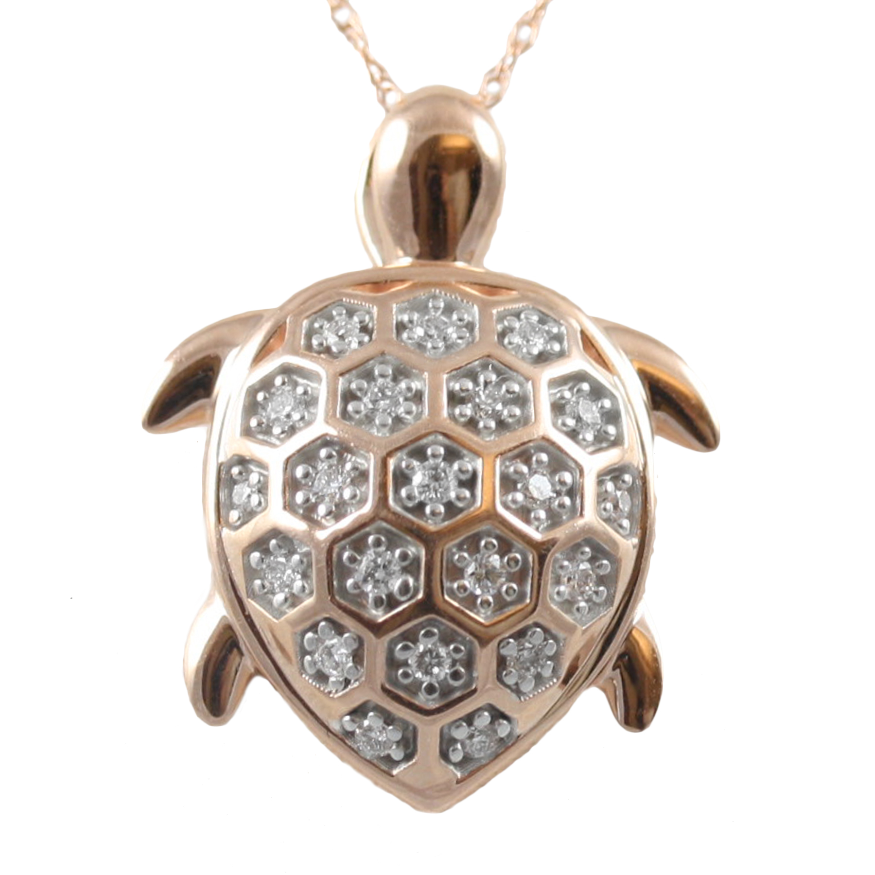 Shefi Diamonds 14 Karat Rose Gold Diamond Turtle Pendant Necklace
