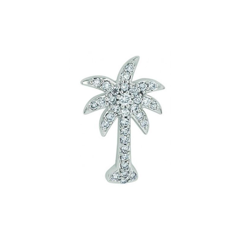 Shefi Diamonds 14 Karat White Gold Diamond Palm Tree Pendant Necklace