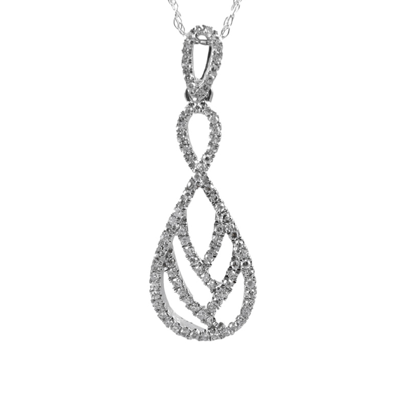 10 Karat white gold and diamond pendant.