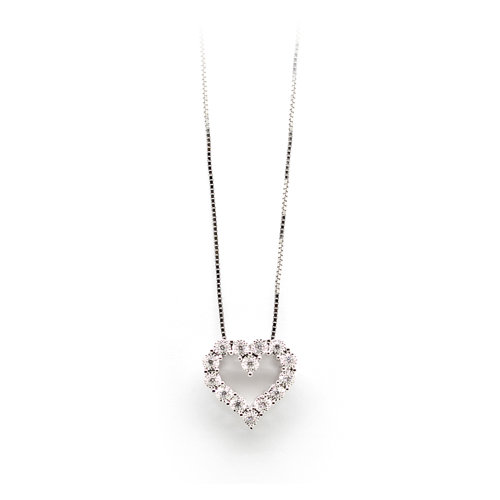 Paramount Gems 14 Karat White Gold Diamond Cutout Heart Pendant Necklace