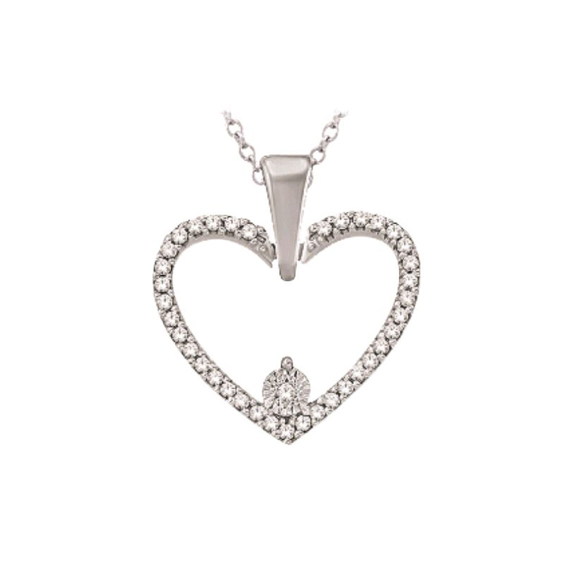 10 Karat White Gold Diamond Heart Pendant Necklace