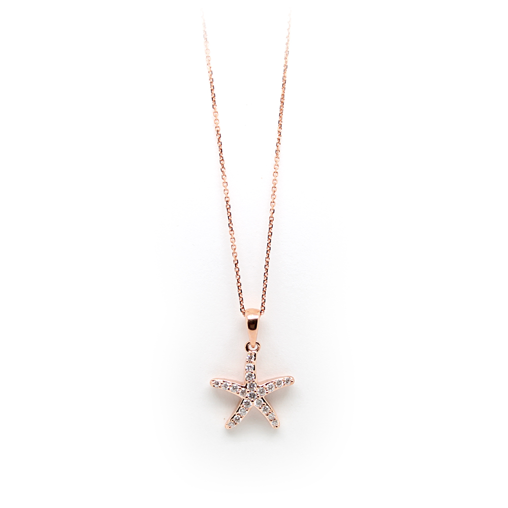 Shefi Diamonds 14 Karat Rose Gold Diamond Small Starfish Pendant Necklace