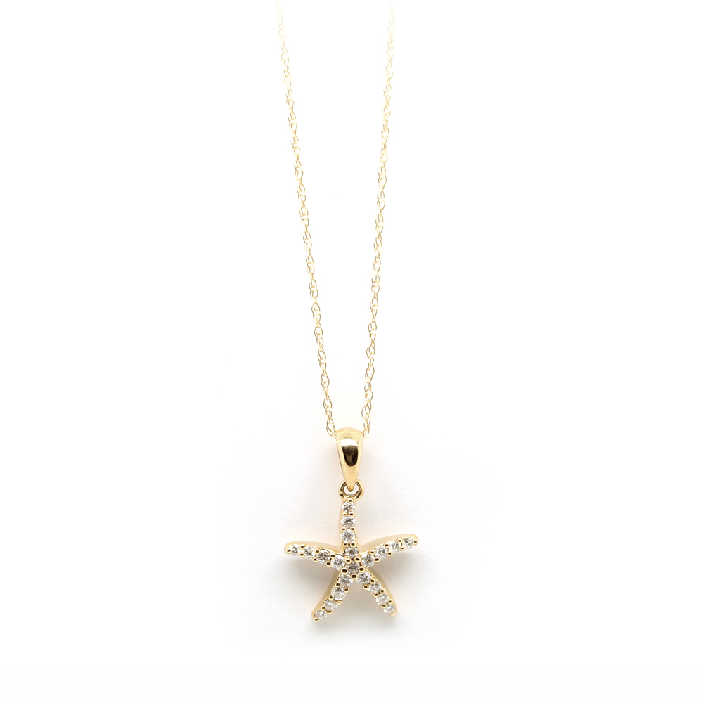 Shefi Diamonds 14 Karat Yellow Gold Diamond Small Starfish Pendant Necklace