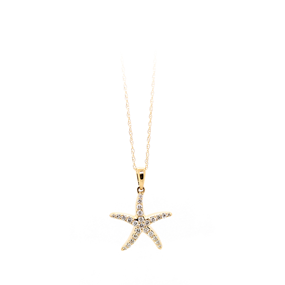Shefi Diamonds 14 Karat Yellow Gold Diamond Medium Starfish Pendant Necklace