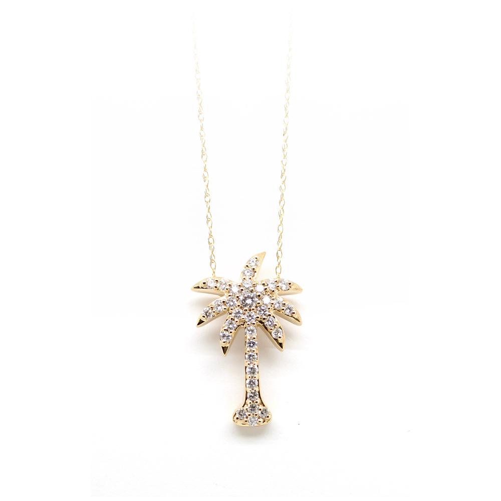 Shefi Diamond 14 Karat Yellow Gold Diamond Medium Palm Tree Pendant Necklace