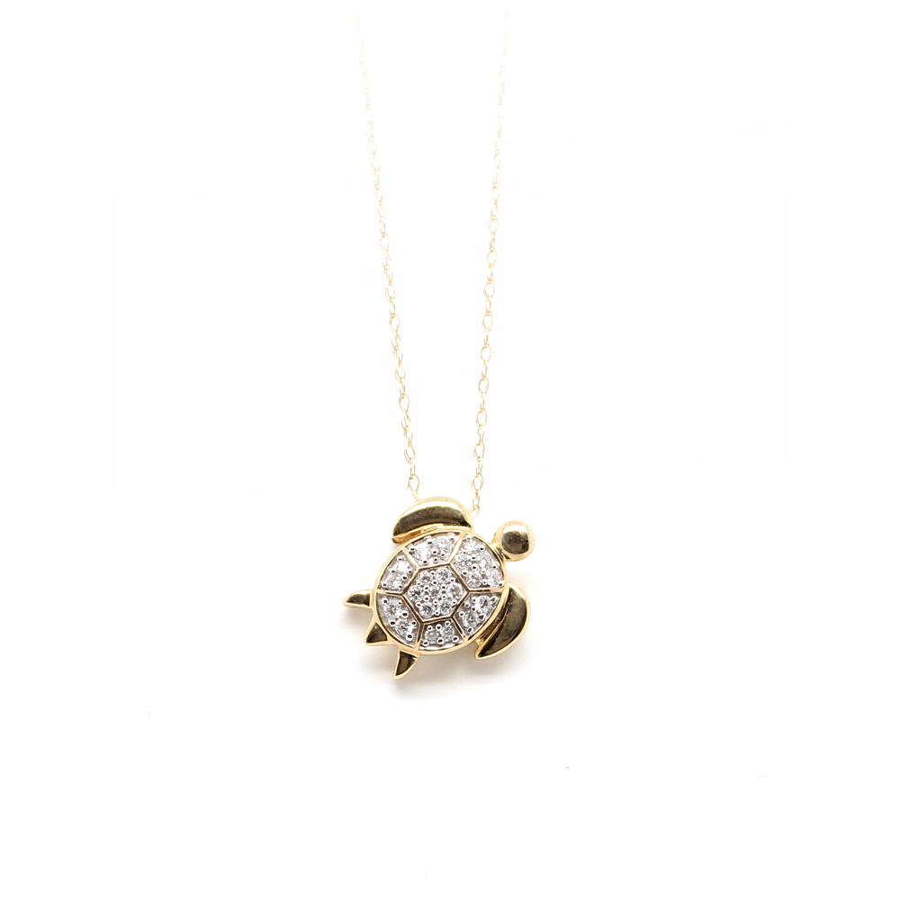 Shefi Diamonds 14 Karat Yellow Gold Diamond Turtle Pendant Necklace