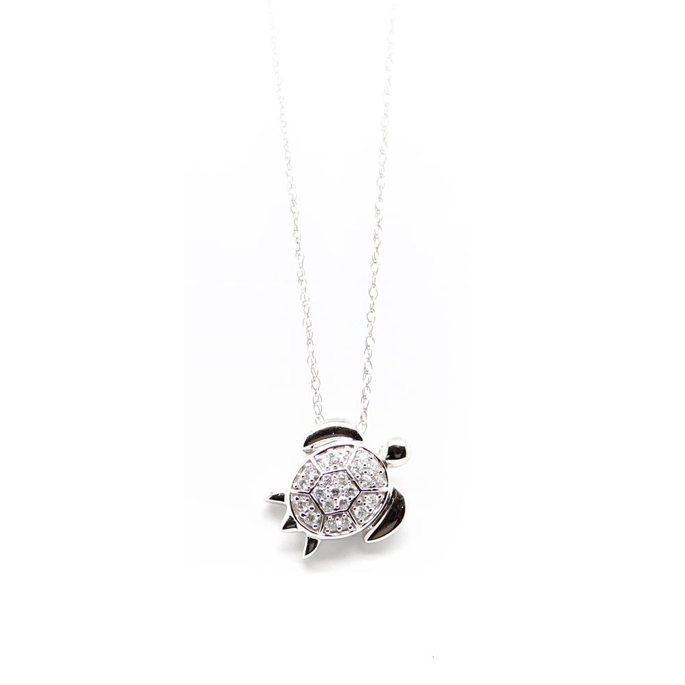 Shefi Diamond 14 Karat White Gold Diamond Turtle Pendant Necklace