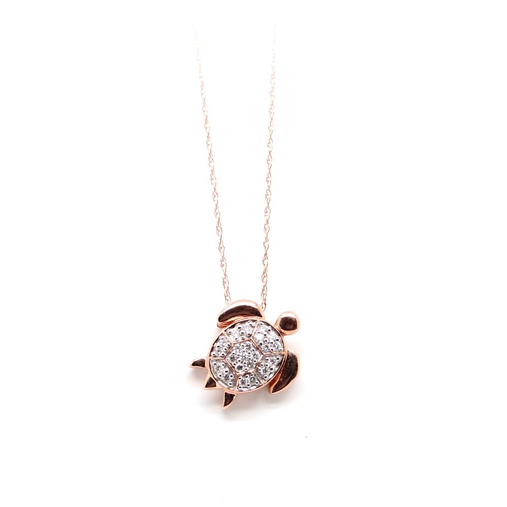 Shefi Diamond 14 Karat Rose Gold Diamond Turtle Pendant Necklace