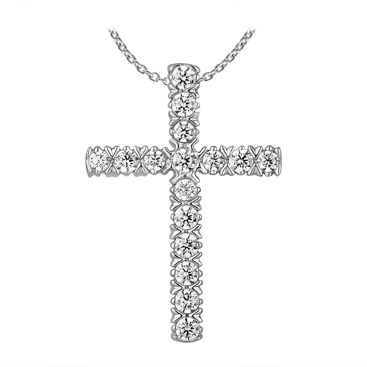Paramount Gems 14 Karat White Gold Diamond Cross Pendant Necklace