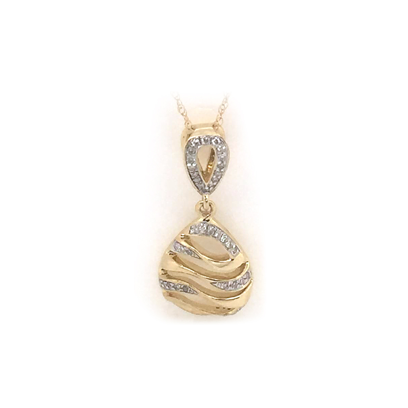 10 Karat Yellow Gold Pear Shaped Diamond Pendant Necklace