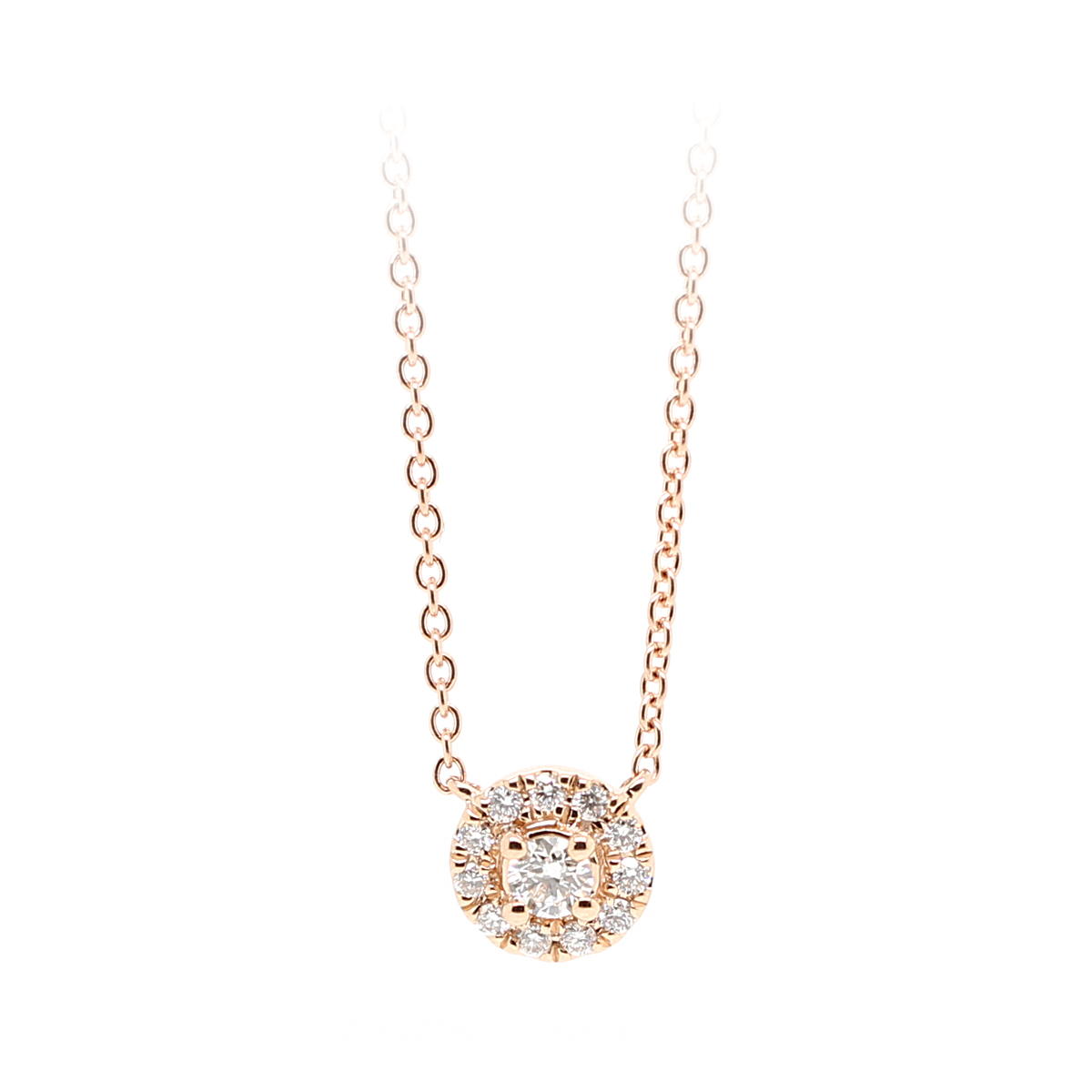 14 Karat Rose Gold Round Halo Diamond Pendant Necklace