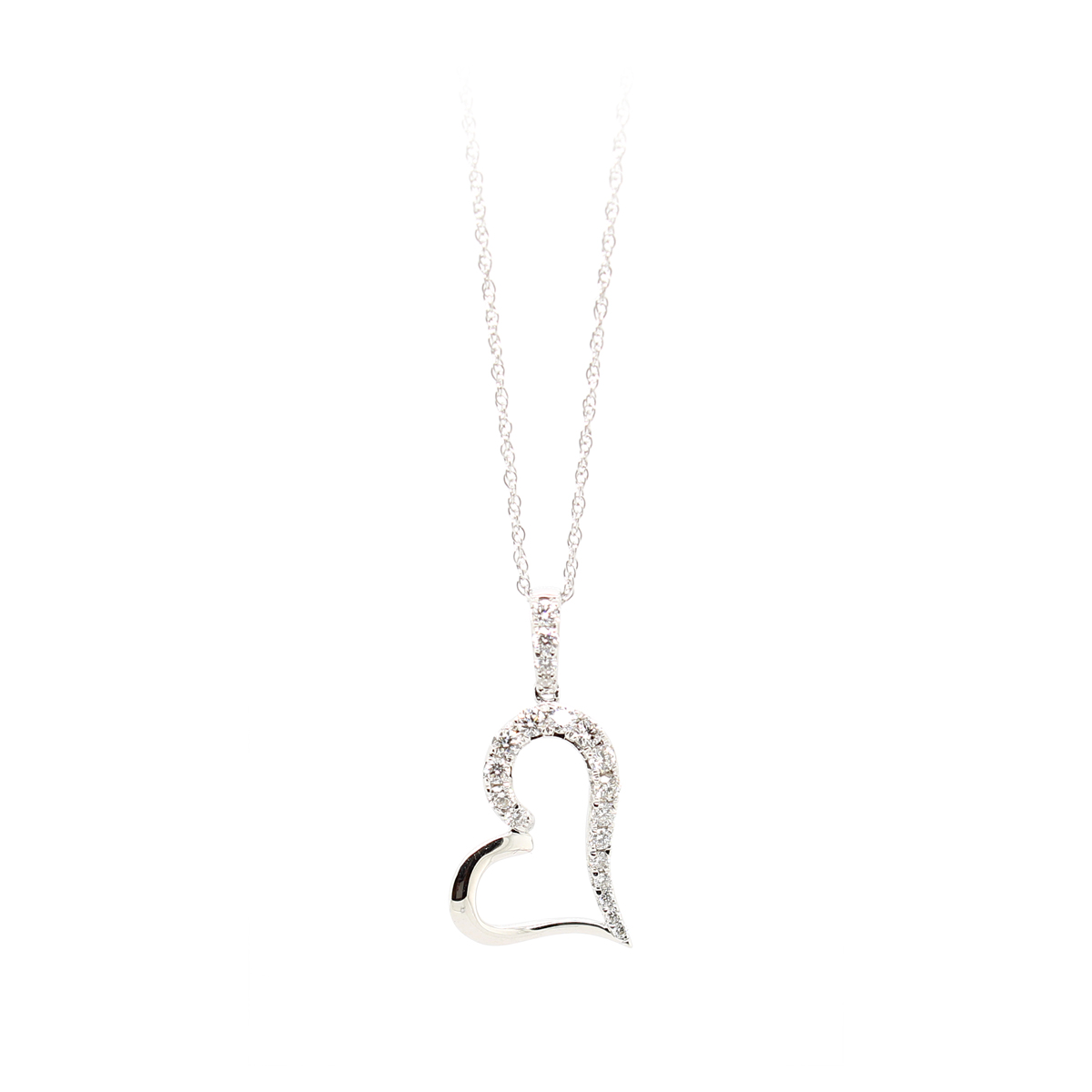 18 Karat White Gold Cutout Small Heart Diamond Pendant Necklace