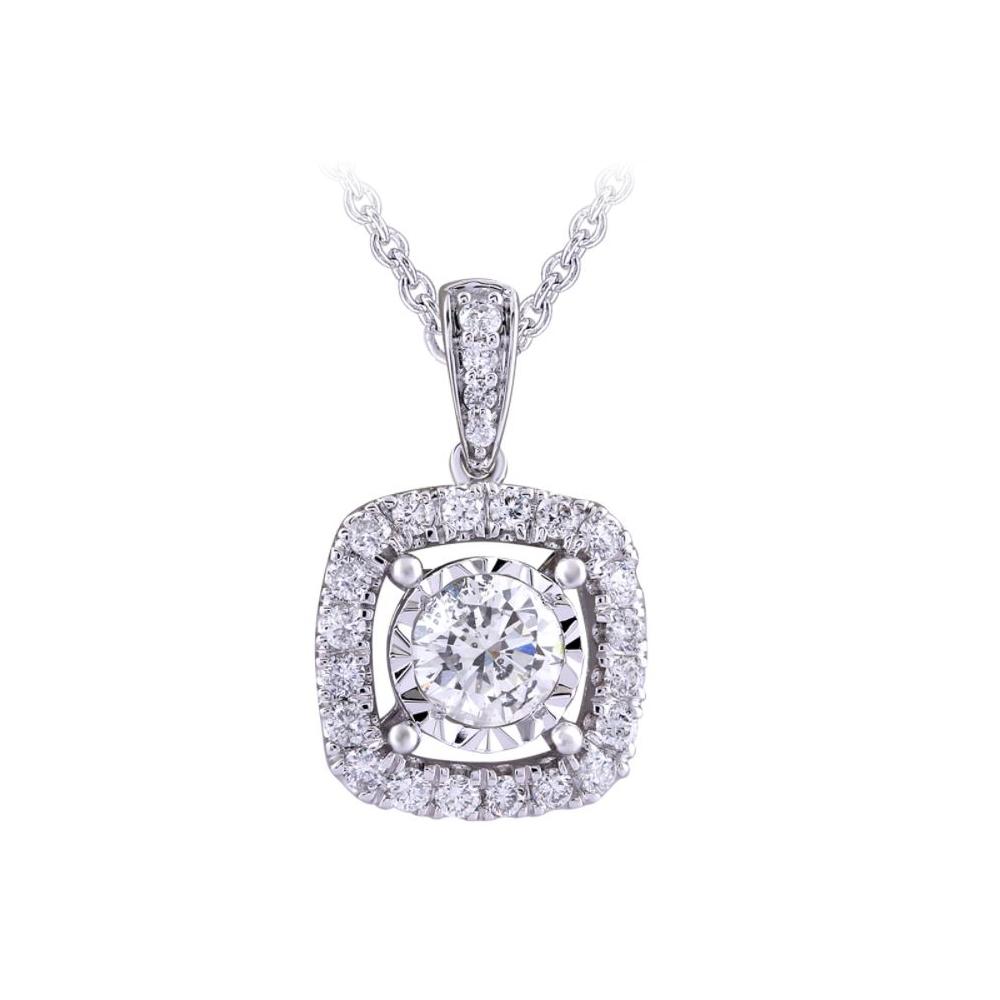 Paramount Gems 14 Karat White Gold Round .25 Carat Diamond Halo Pendant Necklace