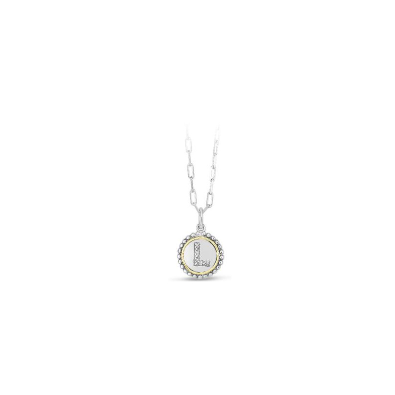 """Royal Chain 18 Karat Yellow Gold and Sterling Silver """"L"""" Initial Diamond Necklace"""