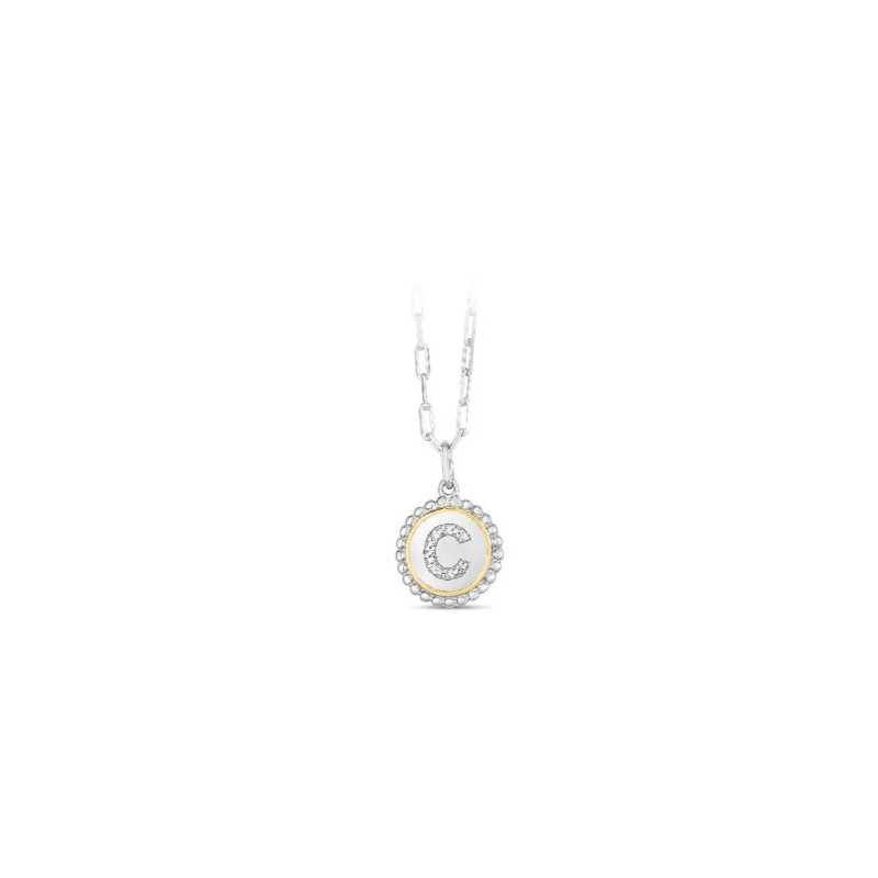 """Royal Chain 18 Karat Yellow Gold and Sterling Silver """"C"""" Initial Diamond Necklace"""