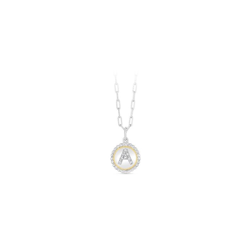 """Royal Chain 18 Karat Yellow Gold and Sterling Silver """"A"""" Initial Diamond Necklace"""
