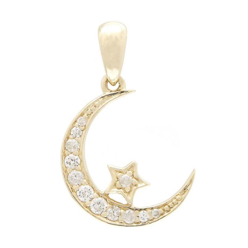 14 Karat Yellow Gold Diamond Star and Moon Pendant Necklace