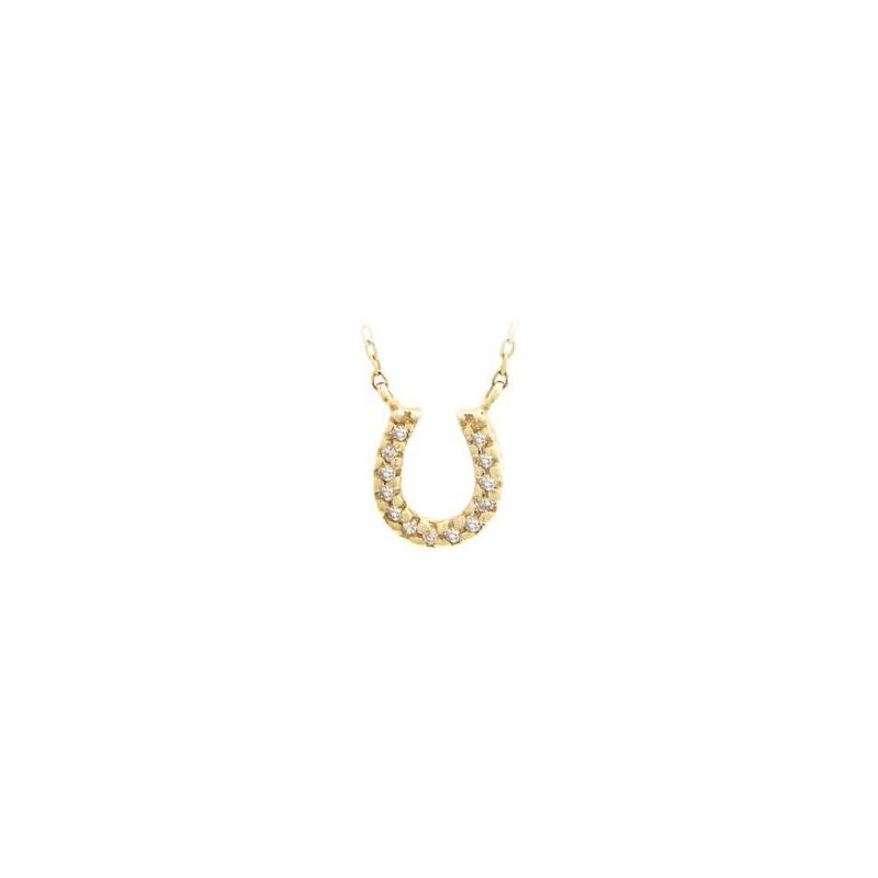 14 Karat Yellow Gold Diamond Horseshoe Station Necklace