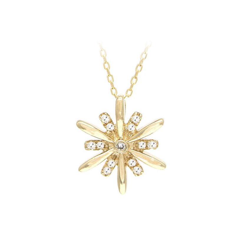 14 Karat Yellow Gold Snowflake Pendant Necklace