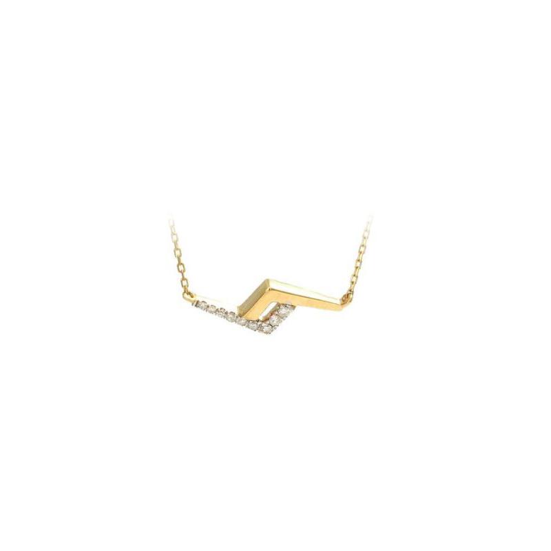 14 Karat Yellow Gold Diamond Lightning Station Necklace