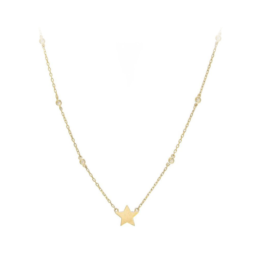 14 Karat Yellow Gold Diamond Star Station Necklace
