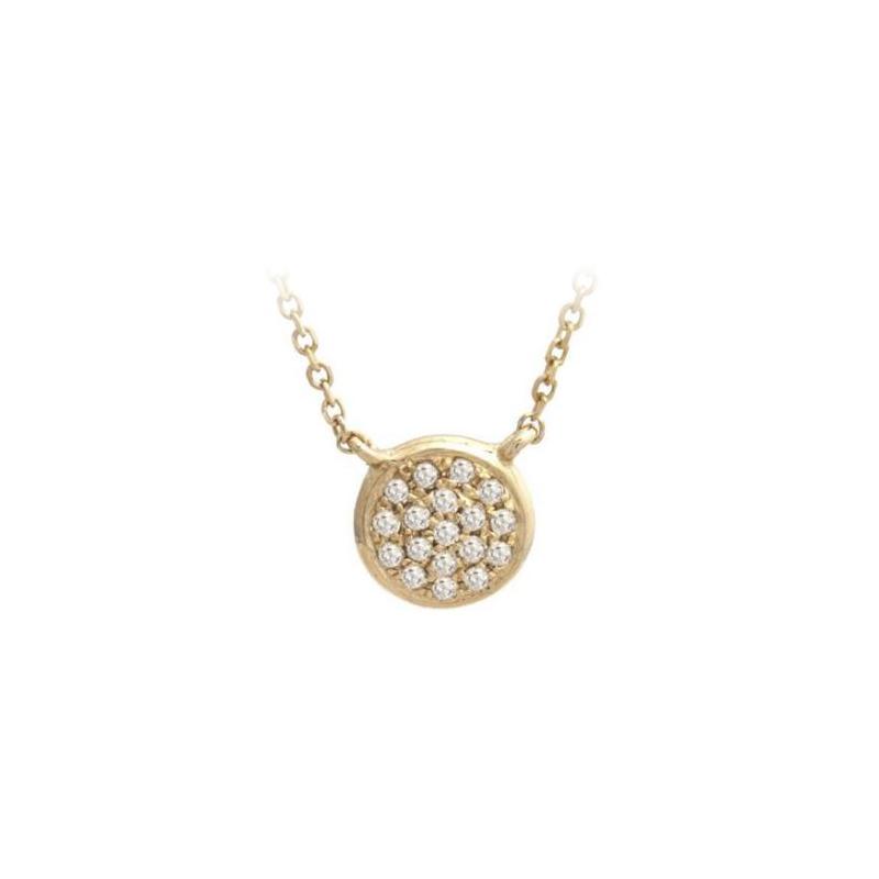 14 Karat Yellow Gold Diamond Round Station Necklace