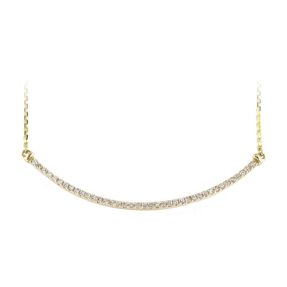 14 Karat Yellow Gold Diamond Bar Station Necklace
