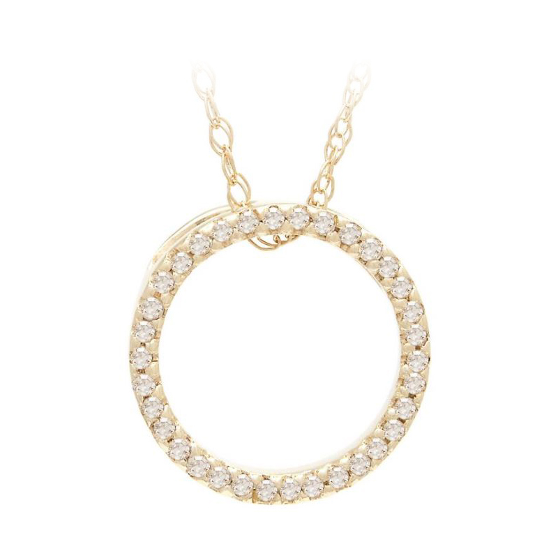 14 Karat Yellow Gold Open Round Pendant Necklace