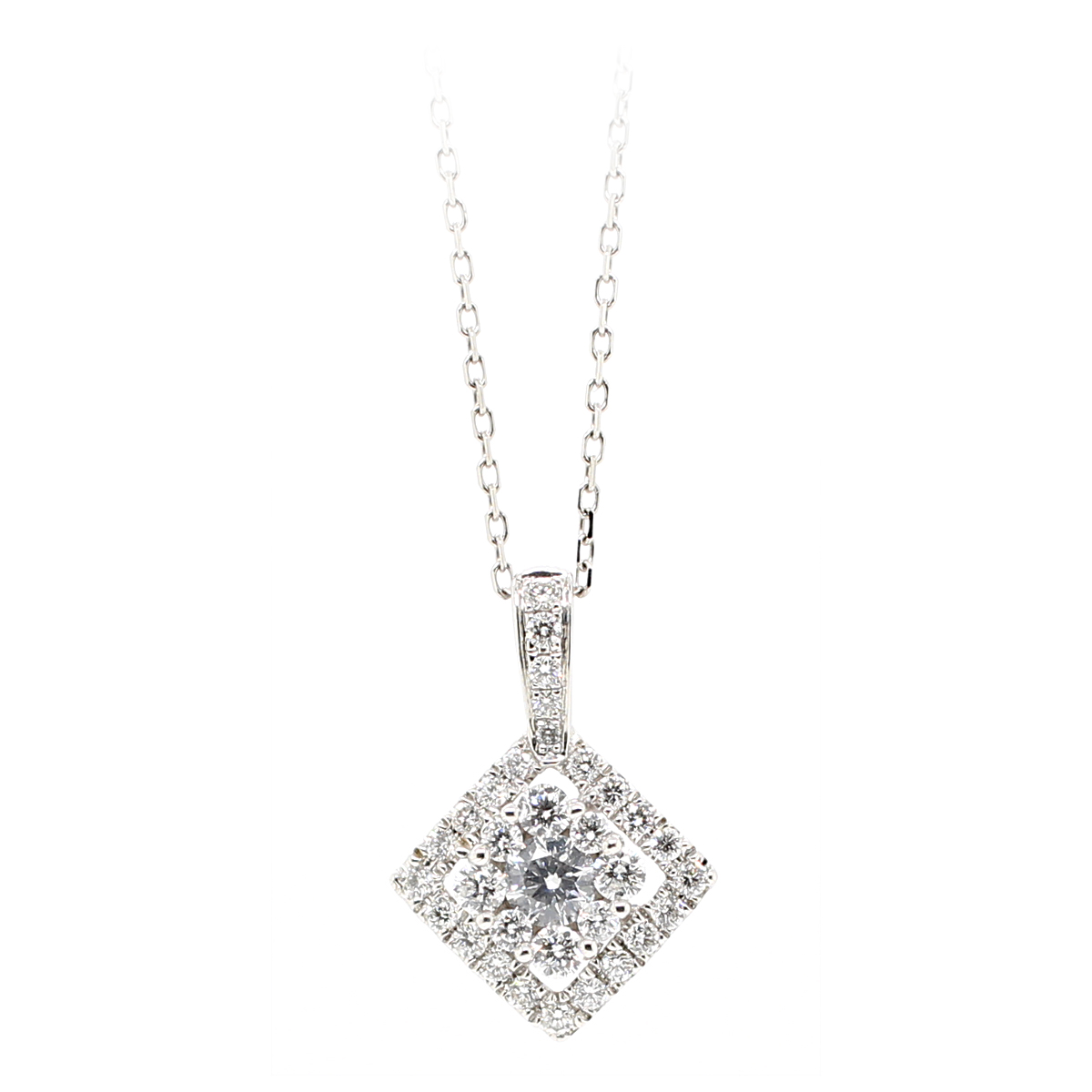 14 Karat White Gold Square Halo Diamond Pendant Necklace