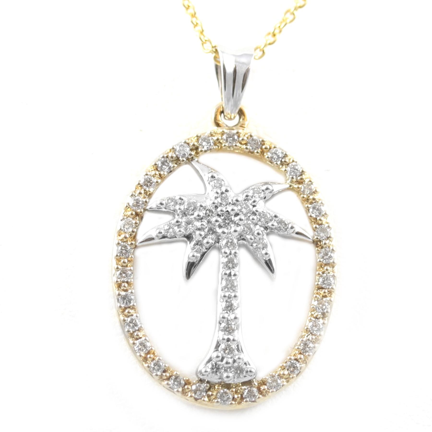 14 karat yellow gold white gold and diamond palm tree oval pendant 14 karat yellow gold white gold and diamond palm tree oval pendant mp2m05283 aloadofball Images