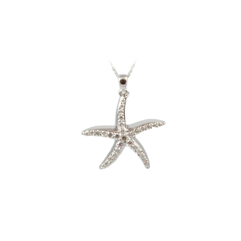 Shefi Diamonds 14 Karat White Gold Large Starfish Diamond Pendant