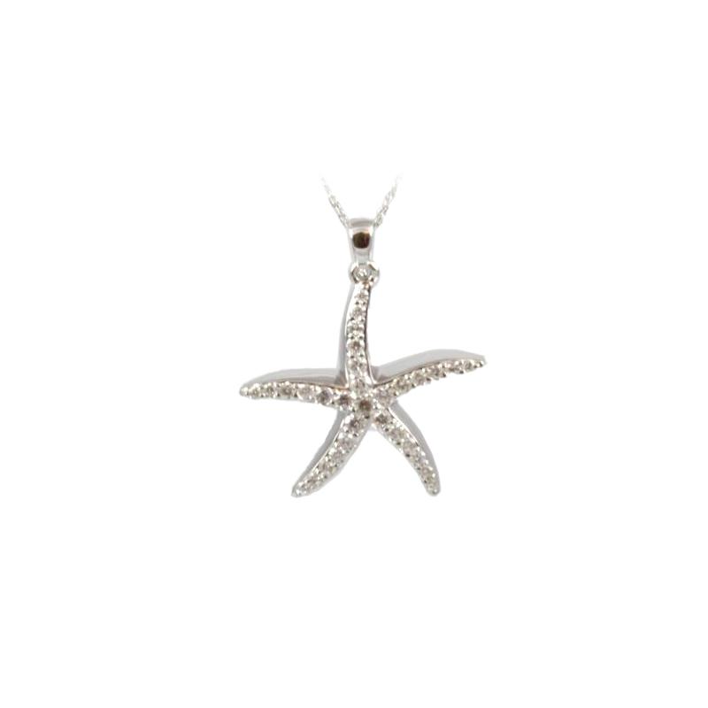 Shefi Diamonds 14 Karat White Gold Large Starfish Diamond Pendant