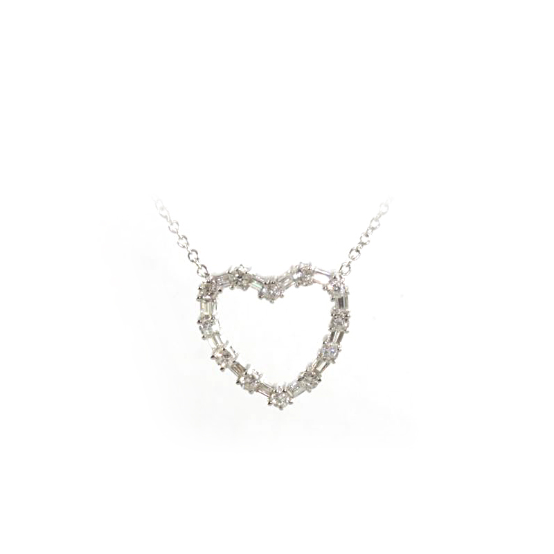 18 Karat White Gold Diamond Cutout Heart Pendant Necklace