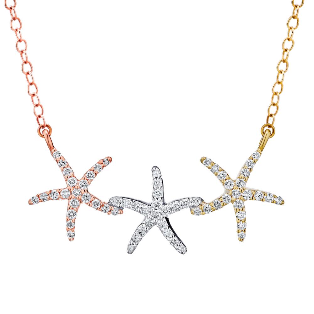 Shefi Diamond 14 Karat Tri Color Three Starfish Pendant Necklace